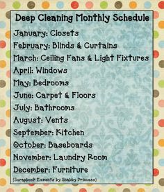 deep cleaning schedule monthly #organizing