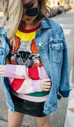 Ultimate Spring Outfits / Denim Jacket / Printed Knit / Black Leather Skirt