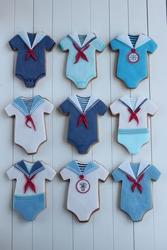 Sailor Boy Onesie Cookies #babyshower #boy