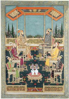 The two princes at the top are identified by inscription as Dara Shikoh and Shah Shuja. They do not resemble other known depictions of these two sons of Shah Jahan, but, by 1680, they had both been dead for more than a decade. Below these two, on the left in a purple robe is Muhammad 'Azam Shah, one of Aurangzeb's sons who served as the governor of Gujarat. Opposite him is Aurangzeb, recognizable by his deep set eyes. The two smaller figures are not identified.