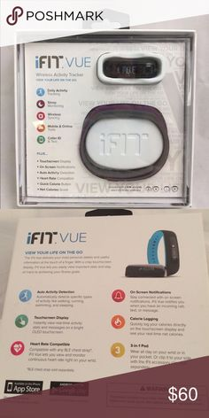 IFIT VUE tracker Easy to track daily activity including heart rate and calories. Also monitors sleeps. Wireless syncing with mobile and online tools. This design is swim proof. What is included a tracker, USB power stick and 2 adjustable wristbands S/M and L/XL. IFIT Accessories Watches