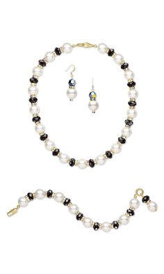 Jewelry Design - Single-Strand Necklace, Bracelet and Earring Set with Swarovski Crystal and Gold-Finished Brass Bead Caps - Fire Mountain Gems and Beads