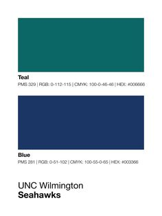 UNC Wilmington Seahawks Pantone Poster - North Carolina  - Print, Boyfriend Gift, Fathers Day Gift - College Student Gift