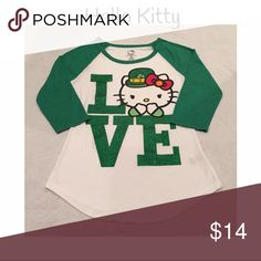 """HELLO KITTY """"LOVE"""" glittery shirt! Super cute Hello Kitty LOVE shirt 3/4 sleeves in green and white! Excellent used condition! Hello Kitty Tops Tees - Long Sleeve"""