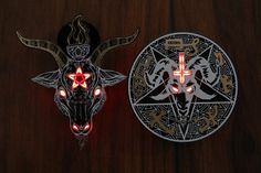 SAOs from sqearlsalazar on Tindie Devils Trap, Soul Design, Baphomet, Dark Lord, Led, Occult, Satan, Dog Tags, Badges