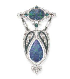 Belle Epoque Cabochon Black Opal, Diamond, Emerald And Platinum Brooch   c, 1915  1915  Christie's