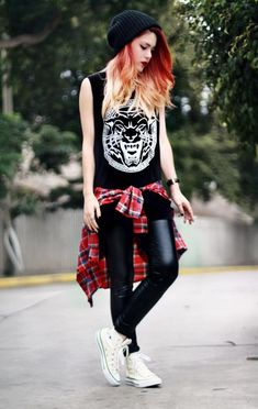 black tank, leather leggings, plaid shirt, white chucks | le happy
