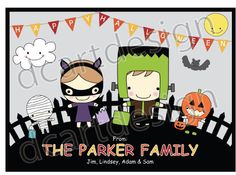 Personalized Happy Halloween Card. by dcartdesign on Etsy, $8.00
