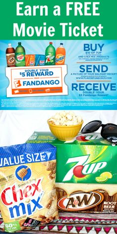 Buy your fave 7UP® & Chex Mix® products @Walmart  Get FREE movie tickets!  http://freebies4mom.com/moreflavor ad