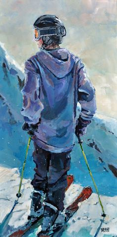 Before the Drop 12x36, Ski Painting