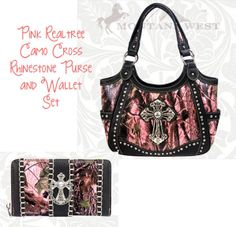 MONTANA WEST HANDBAG WESTERN Realtree Pink Camo CROSS PURSE / WALLET SET Must have!