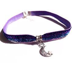 Crescent Moon Choker Lunar Glitter Choker Cosmic Stars Grunge Choker 90s Neon Purple Blue Choker Sparkle Necklace Kawaii Choker EDC Festival