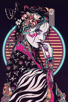 Geisha - 2017 on behance arrrt&design в 2019 г. art samouraï, fond d&ap Art Geisha, Geisha Drawing, Art Sketches, Art Drawings, Art Cyberpunk, Art Du Croquis, Pop Art, Geisha Tattoos, Samurai Artwork