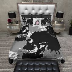 Lightweight Skull Bedding -  Spilled Ink Skull Design - Comforter Cover, Skull Duvet Cover, Skull Duvet and Pillow Case Set
