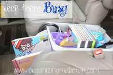 For roadtrips - To keep the kids busy and quiet - as much as possible - set up  an organized bin for their DVDs, crayons, headphones and pencils