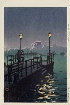 Pier at Otaru (Otaru no hatoba), from the series Collected Views of Japan, Eastern Japan Edition (Nihon fûkei shû higashi Nihon hen), Shôwa era, 1933, Kawase Hasui