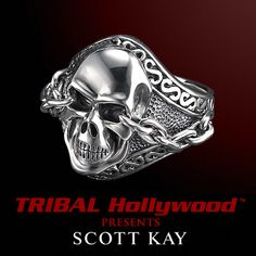 UnKaged Sterling Silver SKULL RING with Chained Eyes - Scott Kay Mens Jewelry | Tribal Hollywood
