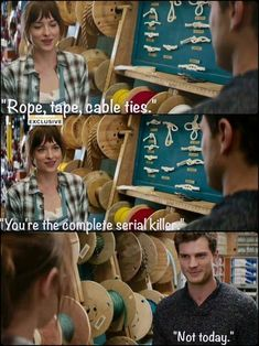 For those that don't know why this is so funny, Jamie Dornan plays a serial killer in The Fall on BBC. Makes you wonder if it was intentional. Fifty Shades Cast, Fifty Shades Series, Fifty Shades Movie, Fifty Shades Darker, Fifty Shades Of Grey, Knock Knock Jokes, Grey Anatomy Quotes, Mr Grey, Cinema