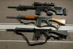 """weaponslover: """" FALs. The top gun is equipped with a DSA 20"""" heavy barrel, Weapons Art stock and grip; the chamber has been cut for match grade ammo. Middle gun is a standard barrel Israeli gun built..."""
