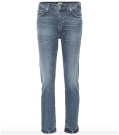 """The Harlow jeans from Citizens of Humanity boast a flattering slim cut. This pair comes in a """"Moments"""" wash – a mid-blue hue with fading to the thighs and knees and a darker fade at the hem. Wear yours with a white . Best Travel Clothes, High Waisted Flares, Printed Skinny Jeans, Citizens Of Humanity, High Rise Jeans, Who What Wear, Capsule Wardrobe, Flare Jeans, Casual"""