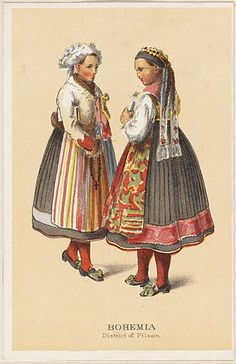 German Peasant Costumes - Bohemia District of Pilsen by Boston Public Library Medieval Clothing, Historical Clothing, Folk Clothing, German Costume, Costumes Around The World, Boston Public Library, Folk Costume, Beautiful Patterns, Czech Republic