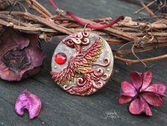 Phoenix medallion - phoenix bird pendant - necklace - fantasy jewelry - fire bird - amulet pendant - wiccan jewelry - polymer clay - ooak by GloriosaArt