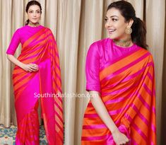 Aggarwal in Raw Mango – South India Fashion - kajal aggarwal in pink orange striped saree by raw mango 1 -Kajal Aggarwal in Raw Mango – South India Fashion - kajal aggarwal in pink orange striped saree by raw mango 1 - Raw Mango Sarees, Silk Saree Blouse Designs, Blouse Patterns, Celebrity Style Dresses, Salwar Pattern, Ethnic Sarees, Indian Sarees, Saree Wearing, Satin Saree