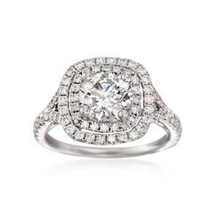 Ross-Simons - 2.48 ct. t.w. Certified Diamond Engagement Ring in 18kt White Gold - #821951
