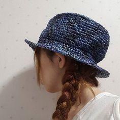 またまた帽子編んだ(✿´ ꒳ ` ) これから海遊館🐠 #海遊館 #編み物 #かぎ編み  #エコアンダリア #中折れ帽子  #ハット #hat