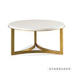 正年轻家具定制--客厅简约现代不锈钢组合茶几爵士白大理石圆形茶桌样板房家具定制