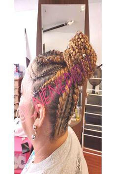 Goddess braids pinned into high bun! Hair included with most stylYou can find Long braids and more on our website. High Bun Hair, Long Braids, Goddess Braids, Dreadlocks, Hair Styles, Beauty, Website, Book, People