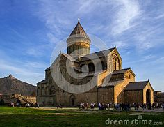 View of an Orthodox church Svetitskhoveli summer day, located in the historical town Mtskheta.