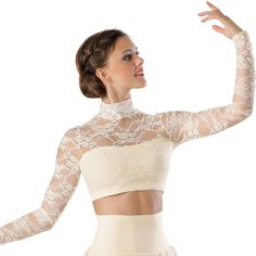 Floral Lace Turtleneck Crop Top, Balera - available in black