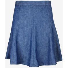 rag & bone/JEAN Suki Denim Flip Skirt (2.449.340 VND) ❤ liked on Polyvore featuring skirts, denim, blue circle skirt, blue skirt, flared denim skirt, flared skirt and knee length denim skirt