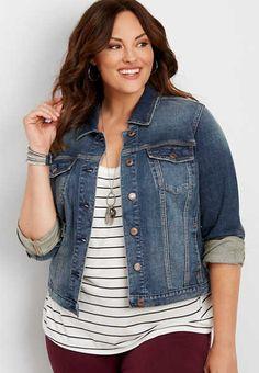 plus size dark wash denim jacket - alternate image Plus Size Womens Clothing, Plus Size Fashion, Trendy Clothing, Curvy Fashion, Vintage Clothing, Autumn Fashion, Curvy Outfits, Plus Size Outfits, Work Outfits