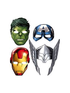 Avengers Masks - Party Hats & Masks & other Dress Up and Pretend from Birthday in a Box