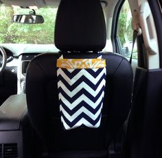 Car Trash Bag CHEVRON NAVY and White by GreenGoose, $26.00, #yellow, #damask, #navy, #bag, #car, #accessories