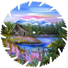 Hand Painted Saw Blade Mountain Spring by LindasMountainCrafts