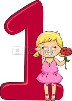 School Girl Holding 1 Flower With Number One Posters, Art Prints by - Interior Wall Decor Numbers Preschool, Learning Numbers, First Day School, Pre School, Math Sheets, Teaching Aids, Alphabet And Numbers, Cartoon Pics, Afrikaans