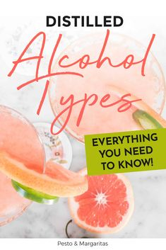 Learn about the distilled alcohol types and what base spirits are as well as what kind of cocktails you can make and which to drink neat Cocktail Maker, Gin Cocktail Recipes, Bourbon Cocktails, Sangria Recipes, Easy Cocktails, Classic Cocktails, Tips And Tricks, Triple Sec Cocktails, Mojito Recipe