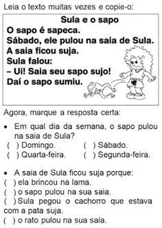 Texto SULA E O SAPO Portuguese Lessons, Homeschool, Math Equations, Education, Words, Blog, Internet, Reading Activities, Letter E Activities