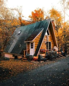 Dream house exterior a frame woods cabin wood siding goals roof a frame house, tiny A Frame Cabin, A Frame House, Tiny House, Cabin In The Woods, Dream House Exterior, Cabins And Cottages, Log Cabins, Cozy Cabin, Small Log Cabin