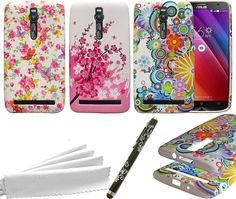 ASUS ZenFone 2 Case Bundle- 3 Flowers Pattern Cases + Stylus Pen + Cleaning Wipe #ASUS
