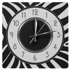 Black and White Wild Safari Zebra Pattern Wallclock