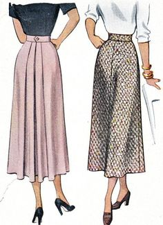 high waisted patterns | 1940s Skirt Pattern McCall 7522 Misses High Waist Gored Skirt with ...