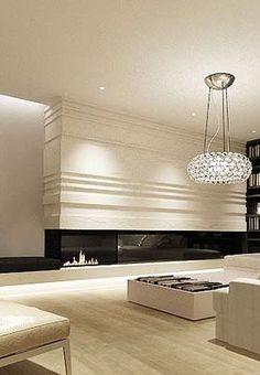 beautiful interior homes Modern Fireplace, Fireplace Design, Contemporary Fireplaces, Interior Exterior, Interior Architecture, Contemporary Interior Design, Beautiful Interiors, Home And Living, Modern Decor