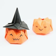 Ah is it too early for these I had them ready last month origami pumpkin and hat new designs origami pumpkin paperfolding paperkawaii itsnevertooearlyforhalloween