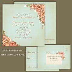 Vintage Rose Garden Wedding Invitation. Hand drawn. Illustrated.Romantic. Sample Set