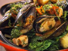 Chuck Hughes' Mussels with Bacon and Rapini