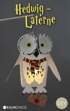 Lantern Hedwig with free instructions for little Harry Potter fans, DIY, Dow . - basteln - Crafts world Harry Potter Halloween, Harry Potter Diy, Harry Potter Fiesta, Theme Harry Potter, Harry Potter Birthday, Hedwig Harry Potter, Fall Crafts, Halloween Crafts, Diy And Crafts